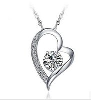 Wholesale Resin Heart Necklace - 925 Sterling Silver Crystal Romantic Love Heart Necklace Swiss Crystal Romantic Love Heart Pendant Fashion Jewelry