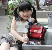 Wholesale Children Retail Designs - Retail Children Cute Bag 2015 New Design Girl Handbags PU Rivet Fashion Shoulder Bags 14327