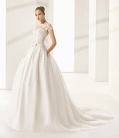 Wholesale High Waist Slit Skirt - drop waist v back princess wedding dresses 2018 rosa clara bateau neckline lace bodice organza and silk pleats skirt chapel train