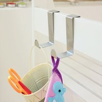 Wholesale- Over Door Hook Stainless Kitchen Cabinet Clothes Hangers Organizer Holders Ferramentas