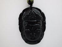 Wholesale Carved Kwan Yin Pendants - Chinese Handwork Natural Black Obsidian Carved Kwan-yin Buddhism Lucky Amulet Pendant Beads necklace Fine Jewelry