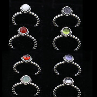 Wholesale 12 colors birthday stoen rings vintage sterling silver big diamond solitaire pure silver rings jewelry fashion bulk