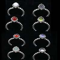 Wholesale Bulk 925 Rings - 12 colors birthday stoen rings vintage 100% 925 sterling silver big diamond solitaire pure silver rings jewelry fashion bulk