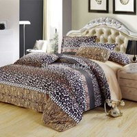 Wholesale Leopard Print Comforter Set Cotton - Wholesale-Sexy fashion leopard print cotton queen bedding set bed clothes with reversible duvet cover flat sheet 4 5pc comforter sets