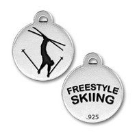 Wholesale Ski Freestyle - 50Pcs Small Decoration Freestyle Skiing Tow Sides Charm Jewelry