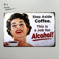 DL-Step Aside Coffee Vintage Retro Targa in metallo Funny Humor 50's Girls Poster in metallo da parete