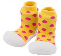 Wholesale Socks Baby Rubber Soled - Dots Children Boots Toddler Shoes Baby Socks For Girl Boy Kids Socks Soft Bottom Non-Slip Floor Rubber Soles