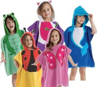 Wholesale Swim Robes - Cute Baby Bathrobe Anmial Style Ladybug Kids Bathing Bath Robe Swimming 5 color L*W=120 * 60 CM