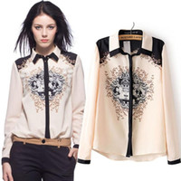 2015 Nouveau imprimé Floral Women Blouse Lady OL Chemise en mousseline de soie Full Sleeves Tops Haute qualité Cheap en Chine Drop shippingWholesale