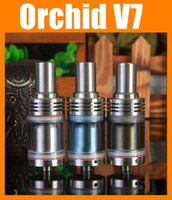Wholesale Orchids Quality - Rebuildable Atomizer Orchid V7 RDA 6.0ml 22mm diameter 510 thread fit E Cigarette Glass Tank high quality with Metal Drip tips ATB147