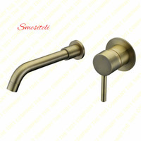 Smesiteli Wholesale Round Style Wall Mount Antique Bronze Single Handle Basin Sink Bathroom Faucet 2 Buracos Mixer Hot Cold Tap