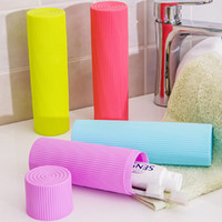 Wholesale Toothpaste Pens - Wholesale- Portable Stripe Toothpaste Toothbrush Pen Stationery Holder Cover Case Cylindrical Protect Case for Traveling and Daily Use