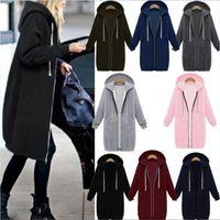 Wholesale Long Zip Top Hoodie Coat - Women Oversized 2017 Autumn Casual Long Hoodies Sweatshirt Coat Pockets Zip Up Outerwear Hooded Jacket Plus Size Tops