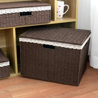 Wholesale Storage Paper Baskets - 3pices set home household thin paper string hand-knitted desk organization basket stash living room clothes toys storage free shipping