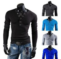 Wholesale ground sleeve - Top Selling 2015 New Winter&Autumn Men's Plus Size V-neck Button Decorative Grinding With Five Claws long sleeve Shirts