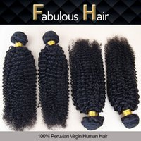 Wholesale Double Wefted Hair - Fabulous 8-24inch Double Wefted Natural Color Kinky Curly Peruvian Human Hair Extension Virgin Hair Bundles Remy Hair Weaves 4pcs Per Lot