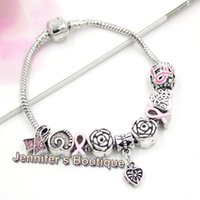 New Arrival Breitis Cancer Awareness Jóias DIY Interchangeable Breast Cancer Europeu Bead Pink Ribbon Braceletes Jóias atacadista