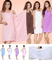 Wholesale Towel Dresses Beach - 1 Pc Lot Multicolor Magic Bath Towels Lady Girls Kids SPA Shower Towel Body Wrap Bath Robe Bathrobe Beach Dress Wearable Magic Towel