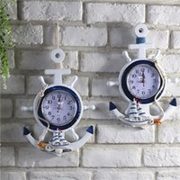 Wholesale nautical wheels - Wall Hanging Clocks Beach Sea Theme Nautical Ship Wheel Rudder Steering Anchor Clock Retro Personality Pendant Exquisite 20hy B R