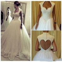 Wholesale New Sexy Bride High Quality - 2018 New Design A Line Pearls Beaded Wedding Dresses Open Back Tulle Skirt High Quality Long Wedding Gown For Bride