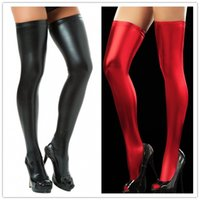 Wholesale Sexy Stocking Socks - Sexy Vinyl Thigh Highs Socks For Women Leather Elastic Stockings Latex PU Stocking Lingerie 2 Colors