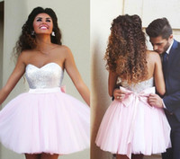 Wholesale Cute Maternity Wear - 2015 Short Pink Homecoming Dresses Sequined Top Sweetheart with Cute Bow Sash Backless MiNi Prom Party Dresses Free Shipping 2016 new