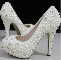 Wholesale European American Crystal Shoes - European and American Women's Luxury Pearl Crystal Diamond Wedding Shoes   Waterproof Bridal Shoes and High-heeled Dress Shoes