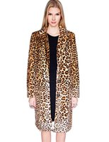 Wholesale Womens Coats Long Leopard - Fashion Luxury Womens Leopard Faux Fur Winter Coat Long Lapel Neck Thick Fur Warm Outerwear with Pockets Plus Sizes Free Shipping WT165