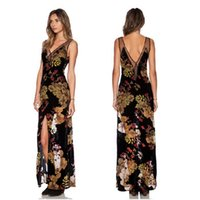 Wholesale Halter Maxi Dress Plus Size - Women Maxi Dress Sexy V-neck Sleeveless Halter Floral Printed Dress Plus SIze XXL Split Party Dresses Vestidos de fiesta XQ8126