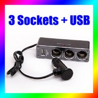 3 Way porta USB Indicador LED DC 12V 24V Built-in Cigarette Fuse soquete Splitter Ligue Charger Adapter Acessório Car Auto Lighter
