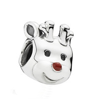 Wholesale glass reindeer - Certificated 100% 925 Sterling Silver Bead Authentic Jewelry Fit Pandora Charm Bracelets Reindeer Silver Charm with Red Enamel