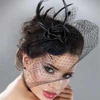 Wholesale African Feather Hat - 2016 Cheap In Stock 18057 Women Wedding Bridal Birdcage Veil For Party Prom Black Feather Blusher Fascinator Mini Hat Veil Free Shipping