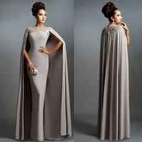 Wholesale High Neckline Cheap Prom Dress - Sexy Formal Celebrity Dresses 2015 Elie Saab Cape Evening Gowns Grey Pleated with Ruffles Lace-edged Neckline Cheap Sheer Prom Dresses