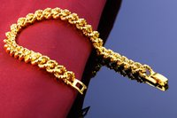 Wholesale 7mm Bracelet - 24k Gold Plated Bracelets Copper 7MM Not Fade Link, Chain Men's Fine Jewelry Hot Sale Direct Selling High Quality Top Fashion Free Ship