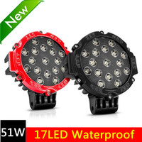 Wholesale Lighting 51w Led Round - Factory Wholesale 51W Led Driving Light Round Spot LED Work Lights Automotive Bulbs Bumper Off-road Truck Car SUV White Light