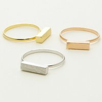 Wholesale Thick 18k Gold Rings - Thick Modern Bar Ring Silver Gold Rose Gold orthogon rectangle Ring,geometric cuboid rings wholesale 10pcs lot Free shipping