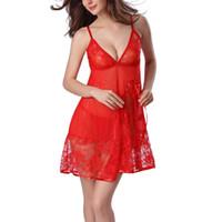 a7f5c95fbeb Wholesale- Sexy Nightgown Night gown Sleep dresses Women Sleeping Dress and String  Set Deep V Sleepwear Lingerie+G-string Nightwear Set