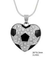 Wholesale Single Crystal Pendants - rhodium plated crystal heart single-sided pendant fitness sport black enamel soccer ball charm snack chain necklaces