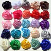 "Wholesale Hair Satin Ribbon Flower Head - Trial order 1.5"" Mini Satin Roses Flowers Heads Rosette Flowers For Hair Ribbon Rose 100pcs lot"
