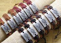 jóias peixes jesus venda por atacado-Superior peixe jesus Handmade Truth Pulseira de Couro Trançado Designs mens pulseiras mulheres jóias