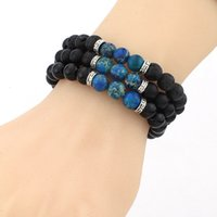 Wholesale Multi Color Beaded Bracelets - New Women Men Jewelry Bangle & Bracelets Fashion Black Lava Stone Bracelets Multi Color Beads Strand Bracelet LX
