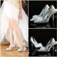Wholesale Shining Crystal High Heels - Sexy Shining 2016 red  silver Wedding Accessories Bridal Wedding Shoes Pumps High Heel Pointed Toe Crystal Rhinestone Shoes NGX35