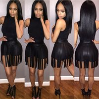 Wholesale trendy jumpsuits - Trendy Black Night Club Dress with High Neck Sleeve leather Tassel Hot Party Dress Real Image Sexy Black Women Night Jumpsuits