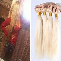 Wholesale Double Drawn Straight Remy Hair - Brazilian Malaysian Peruvian Indian European Hair Wefts Sliky Soft Double Drawn 3pcs Lot Blonde Straight 100% Human Remy Virgin Hair Bundles