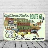 Wholesale Routed Signs - US Route 66 American Dream Map Retro Vintage Tin Sign Metal Plaque License Plate Bar Pub Home Wall Decor
