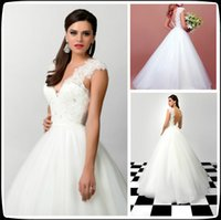 Wholesale Brautkleider Winter - Charming White Wedding Dresses With Lace Cap Sleeve Backless Wedding Gowns Bridal Dress Tulle Formal Women Dress For Marriage Brautkleider