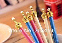 Wholesale Crown Pearl Pen - Wholesale-4 color option 0.5mm auto black gel ink Pen ball lovely crown pearl gifts plastic stationery school office CN post