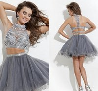 Wholesale Embellished Beaded Mini Dress - 2016 Sexy Graduation Dresses A-line high neck tulle Embellished two-piece Prom Dresses beaded homecoming Dress Rachel Allan New style LA147