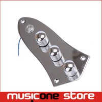 Wholesale Guitar Wiring Harness - Chrome Wired Loaded Prewired Control Plate Harness Assembly Knobs and jack for Jazz Bass Guitar Parts Free Shipping MU0605