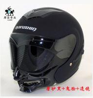 Wholesale Helmet Motorcycle Matte Black - Wholesale-Free shipping motorcycle helmet marushin C609 dual lens grimace half samurai helmet   Matte Black DOT